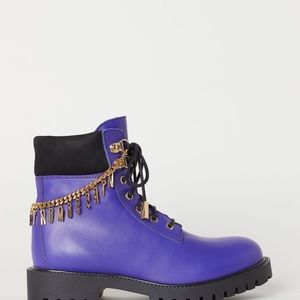 H&M Moschino purple boots with ankle chain